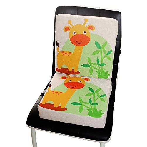 Wateralone Boostersitz Esszimmer Stuhl Sitzerhöhung Kinder Kindersitze, niedlichen Animal Print Flachs, demontierbar einstellbar, ideal als Hochstuhl für unterwegs für Babys & Kleinkinder (Giraffe)