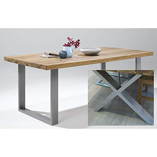 Tavolo da pranzo 200 x 100 cm in rovere Lamelle X-Gestell in acciaio INOX