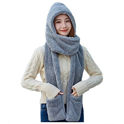 NOMUSING Damen Hut Schal Handschuhe Dreiteiliger Anzug Comfort Warmth Mode...