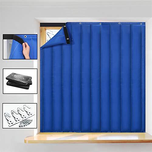 Liveinu Cortina Térmica Con Aislante Térmico Para Ventana No Perforar Insonorizante Impermeable Reducir el Ruido Ambiental Aislamiento CortinaPara Puertas con Térmica y Aislante 150x127cm Azul
