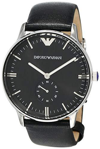 Emporio Armani heren analoog kwarts horloge met lederen armband AR0382
