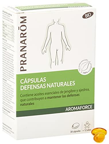 Pranarôm, Aromaforce, Cápsulas Defensas naturales, Contiene aceites esenciales de jengibre y ajedrea, que contribuyen a mantener las defensas naturales, 30 cápsulas
