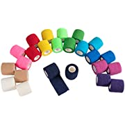 Self Adhesive Bandage Wrap, Cohesive Tape in 12 Rainbow Colors (2 in x 5 Yards, 24-Pack)
