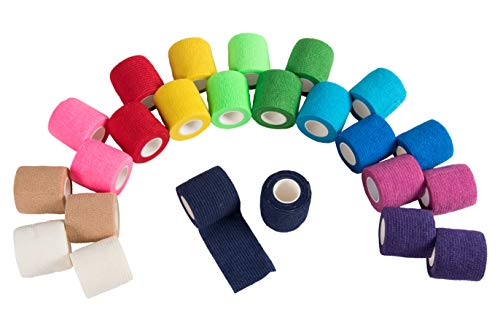 Self Adhesive Bandage Wrap, Cohesive Tape in 12 Colors (2 in x 5 Yards, 24 Pack)