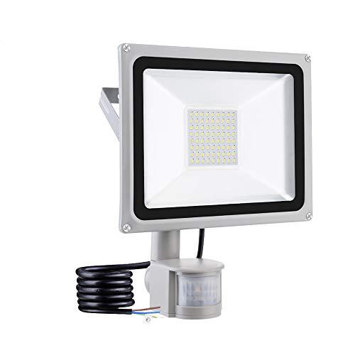 50W Faretto LED da Esterno con Sensore di Movimento 4500LM IP65 Impermeabile Faro LED Bianca Fredda 6500K Illuminazione per Giardino Corridoio Garage Parcheggio [Classe di efficienza energetica A+]