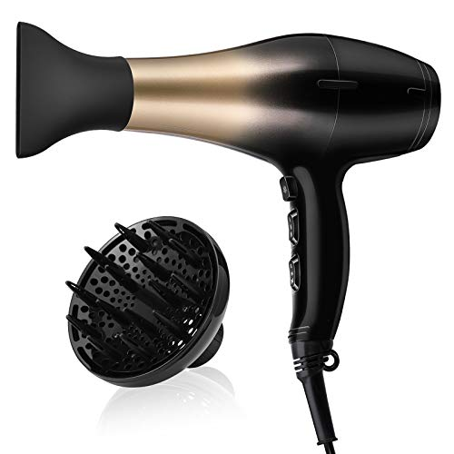 KIPOZI 1875W Hair Dryer, Negative Ionic Blow Dryer, Salon Grade Powerful Hairdryer with Concentrator&Diffuser, 2 Speed and 3 Heat Settings, Lightweight and Quiet /Packaging Vary (Golden Black)