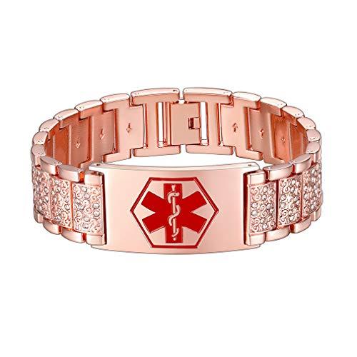 Supcare Medical Alert ID Bangle Bracelet Stainless Steel Rose Gold Plated Cubic Zircon Addjustable Band Bracelet for Men/Boys/Women, Medical Alert Emergency Identification Charm Bracelet Jewelry…