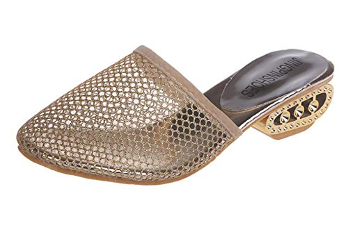 Na wysokim obcasie na koturnie na platformie, letnie i jesienne pantofle, jednoosobowe sandały, puste oddychające, seksowne buty damskie z siateczki, - Złoty - 42 EU