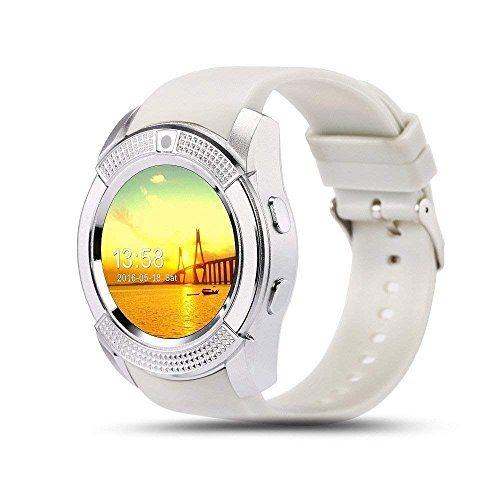 AJO V8 Sports Smartwatch Bluetooth 4.0 Message Push, Sedentary Reminder, Pedometer, Sleep Monitoring Wristband for iOS/Android Phone (White)