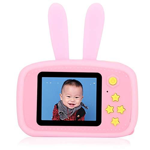 Bewinner1 Videocamera per Bambini, Action Cam digitali per Bambini con Schermo a Colori da 2.0 Pollici con Giochi di intrattenimento, Mini videocamera videocamera con Cordino Cartoon Custodia(Rosa)