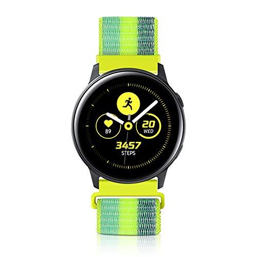 20mm Liberación Rápida Correa de Reloj para Samsung Galaxy Watch 42mm/Active2 44mm 40mm /Gear Sport/Gear S2 Classic/Garmin Vivoactive 3, Nylon Deporte Bandas Reemplazo Pulsera (20mm, Polen Amarillo)