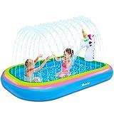 "iBaseToy Splash Pad Sprinkler Pool for Kids Toddlers - 68"" Unicorn Sprinkler Splash Mat,..."