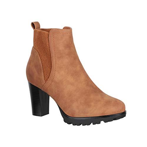 Elara Damen Stiefelette Ankle Boots Chunkyrayan KL0612 Camel-41
