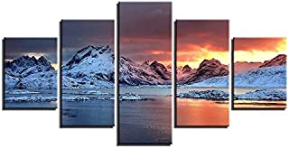 ABS Canvas Paintings Living Room Home Decor 5 Pieces Sunset Snow Mountain Wall Art Canvas Painting Pictures