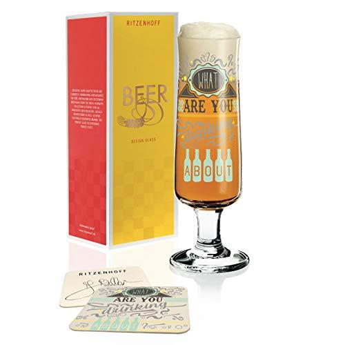 Frank Keller, bicchiere da birra in cristallo da 300 ml, con 5 sottobicchieri