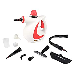 Belaco Multipurpose Steam Cleaner 1050W, 9 Pieces Accessory kit for Multi Purpose Red color portable steamer for stain removing tiles kitchen bathroom garment car seats & more British Plug