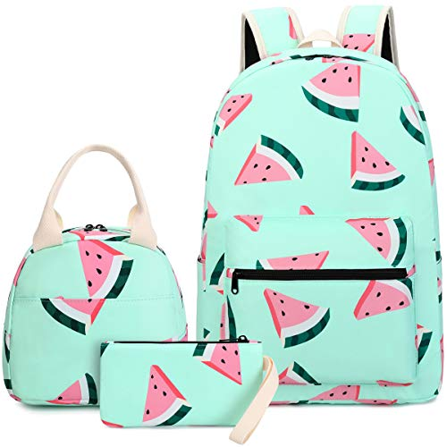 CAMTOP CAMTOP Backpack for Teen Girls Kids School Bookbag Lunch Box Set (Y0080-3 Watermelon-Mint Green)