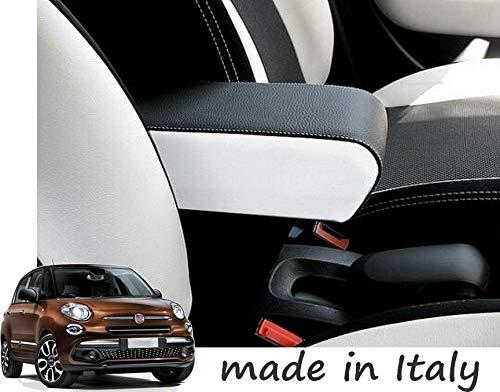 Drive Design Bracciolo per 500L 2012-2017 Ecopelle Nero con Laterali Bianchi e Cuciture Bianche Regolabile in Lunghezza Armrest mittelarmlehne appoggiabraccio 500 L