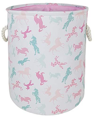 AYTG - Cesto grande de lona para la ropa sucia con asas, organizador de almacenamiento de algodón perfecto para niños, niñas, juguetes, dormitorio, guardería, hogar, cesta de...