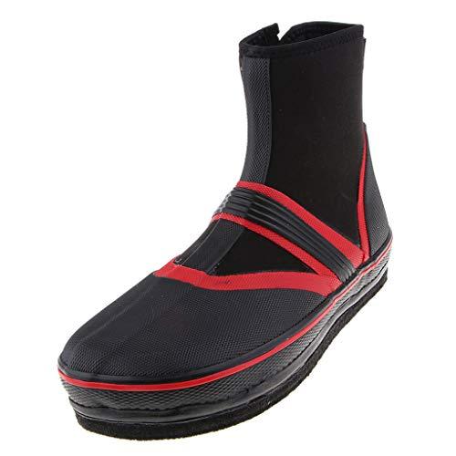 NON Sharplace 1 Par Botas de Pesca Zapatos Antideslizantes Clavos Picos Vadeo Seco - Rojo XL