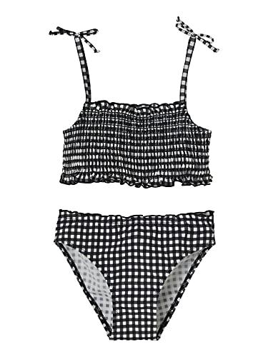 VERTBAUDET Bikini con Smocks para niña Negro Oscuro A Cuadros 4A
