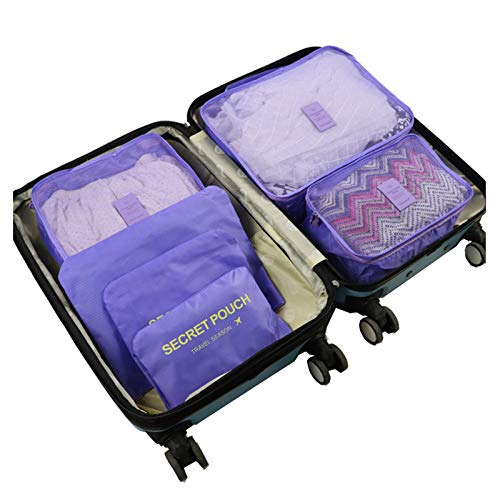 XSCYLWJ 6Pcs Travel Storage Bags grid Clothes Waterproof Packing Cube Luggage Organizer with Shoes Bag Accessories Travel Multi-functional Travel Luggage