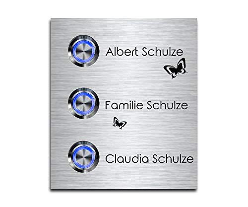 3 Fach Türklingel Dreifach-klingel mit drei Tastern und Namen Gravur Familienhaus Edelstahl Klingelplatte für 3 Familien 9x10,5 cm mit über 70 Motiven Modell: Schulze