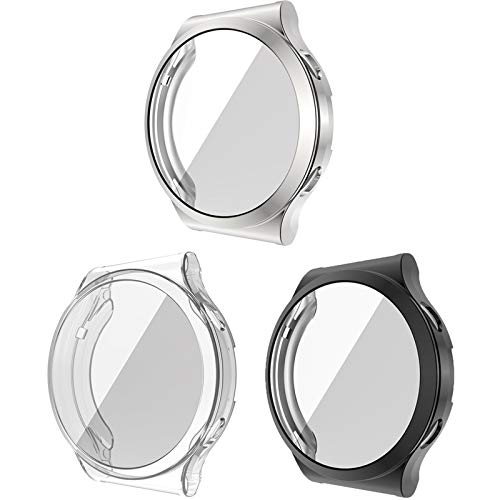 LvBu Schutzhülle Kompatibel mit Huawei Watch GT 2 Pro, Flexibles TPU Vollschutz mit Bildschirmschutzfolie Kratzfest Bildschirmschutz Schutz Hülle Für Huawei Watch GT2 Pro (schwarz+Silber+Transparent)