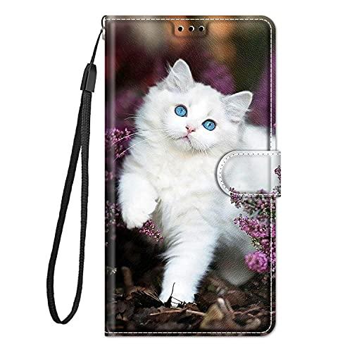 Hülle Leder für Samsung Galaxy A50, A50S und A30S (2019) Handyhülle, Niedliches Muster Klapphülle Lederhülle mit [360 Grad Stoßfest] [Kartenfachr] Schutzhülle Klappbar Flip Hülle Cover - Weiße Katze