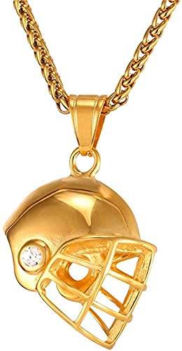 NC122 Helm Halskette Gold Farbe Edelstahl Anhänger & Kette für Männer Eishockey Fitness Zubehör Sportschmuck