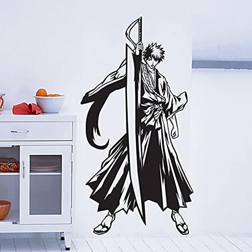 Anime dibujos animados Manga Bleach Kurosaki Ichigo Bushido Swrodsman Assassin vinilo etiqueta de la pared coche calcomanía niño ventiladores dormitorio sala de estar decoración del hogar Mural