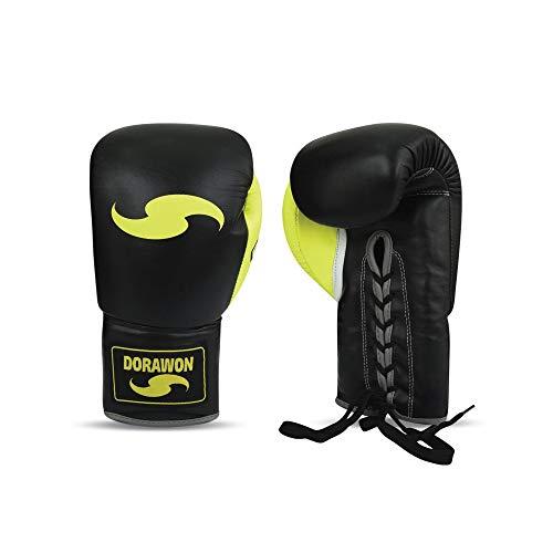 DORAWON, Guantes de Boxeo Profesionales de Cuero con Gel con Cordones Talla...