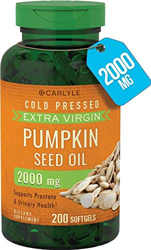 Carlyle Pumpkin Seed Oil 2000 mg 200 Softgel Capsules | Cold Pressed, Extra Virgin | Non-GMO, Gluten Free