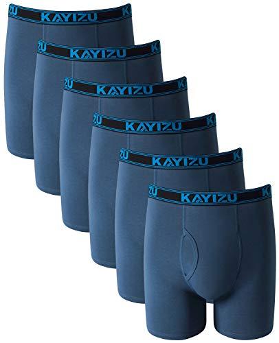 KAYIZU Brand Men's Underwear Ultimate Soft Cotton Boxer Brief (6-Pack) Blue Medium