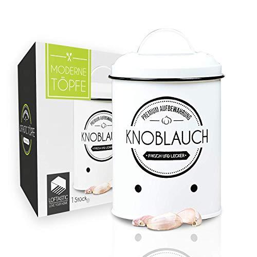 LOFTASTIC® Knoblauchtopf I Die stilvollste Art für noch länger frischen Knoblauch I Vorratsbehälter I Elegante Aufbewahrung in deiner Küche