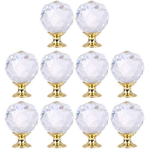 GARNECK 10Pcs Tiradores de Cristal Tiradores Perillas de Diamantes de Imitación Tiradores de Cajón de Vidrio Tiradores de Armario de Muebles Decorativos (Dorado)