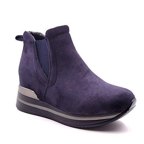 Angkorly - Zapatillas Moda Botas Zapatilla - Sneakers de cuña BCBG Tacones pequeños Tendencia Mujer Gamuza Acabado Costura Pespunte Tacón Plano 4 CM - Azul 2 HQ229 T 41