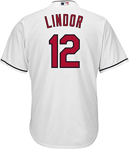 Outerstuff Francisco Lindor Cleveland Indians White Youth Cool Base Home Replica Jersey (Small 8)