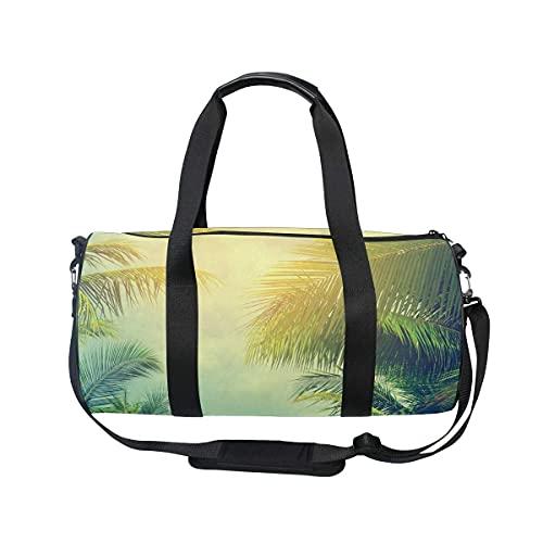 Bolsa de deporte para gimnasio, diseño de palmera tropical, estilo retro, con compartimento para zapatos y bolsillo húmedo para mujeres o hombres