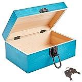 NBEADS 1 caja de joyería de madera, color turquesa oscuro, organizador rectangular de madera de pino con patrón vintage y llaves de hierro para colecciones de almacenamiento de joyas