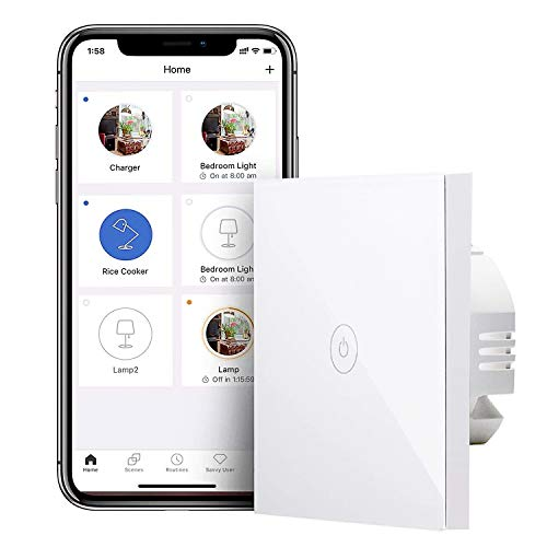 Interruptor de Pared Wi-Fi, 1 Vía, 1 Canal, con Pantalla Táctil, Pulsador de Cristal. Compatible con Alexa, Google Assistant y SmartThings. meross. (Se Requiere un Cable Neutral)