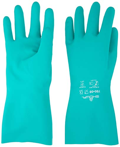 SHOWA Nitrile Cotton Flock-Lined Chemical Resistant Gloves – Large – 12 Pack
