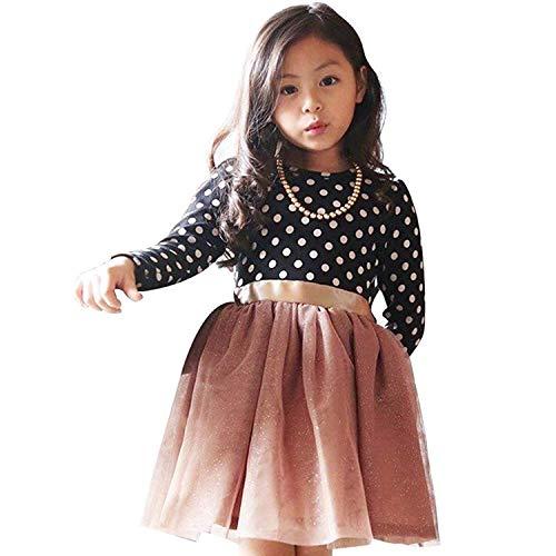 TTYAOVO Mädchen Langarm Gepunktete Prinzessin Casual Tüll Partykleid für 2-6 Jahre 1-2 Jahre 02 Schwarz