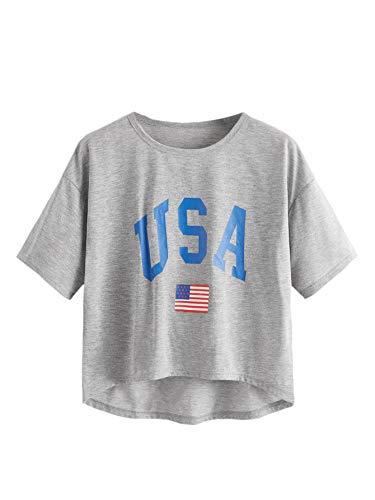 SweatyRocks Women's Letter Print Crop Tops Curved Hem Short Sleeve T Shirt Grey L