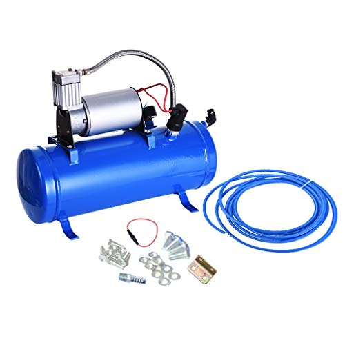Chenway Air Horn for Truck Kit Safety Air Horn for Cars and Trucks The Best 4 Trumpet 12v Train Air Horn Kit Blue Tank Gauge for Car Train Truck Universal