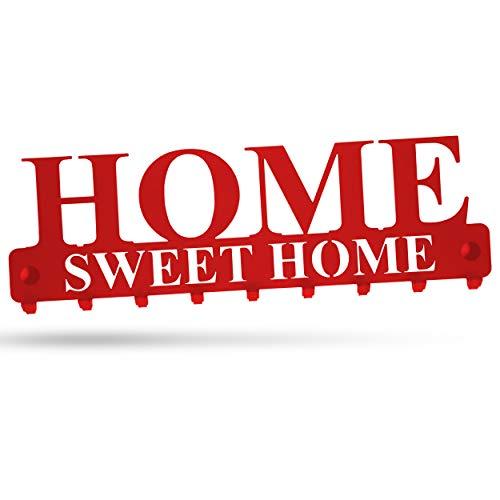 """tradeNX """"Home Sweet Home Wand Schlüsselboard mit 9 Haken aus Stahl in Rot – Wandhalterung für Jacken, Schlüssel oder Handtücher – Montagematerial inklusive"""