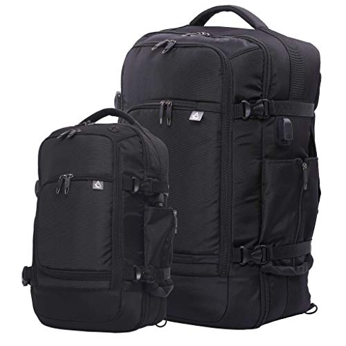 Aerolite Rucksack Set - 55x35x20cm 39L Luggage Backpack, Fits 15' Laptop + 40x20x25 Ryanair Max Size Rucksack Shoulder Flight Bag