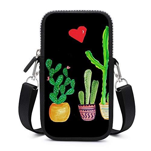 Handy-Geldbörse mit abnehmbarem Schultergurt, Kaktus-Herzen, verschleißfest, Tasche für Handy, Handgelenk, Geldbörse, Fitnessstudio, Fitness-Taschen für Mädchen