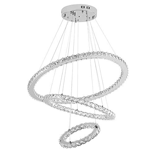 HENGMEI 96W Lámparas de araña Cristal Lámpara de Techo Lámpara Colgante LED,...