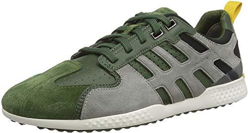 Geox U Snake.2 A, Zapatillas para Hombre, Verde (Dk Green/Lt Grey C3287), 41 EU